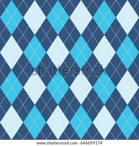 Seamless Argyle Pattern Blue. Vector.