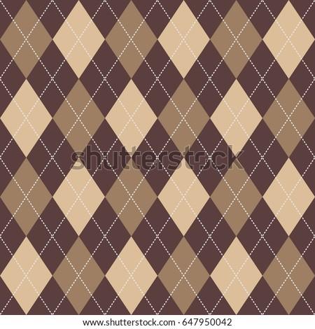 Seamless Argyle Pattern Brown. Vector.