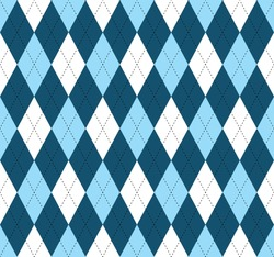Seamless argyle pattern. Traditional diamond check print in moderate blue, soft blue and white with black stitch