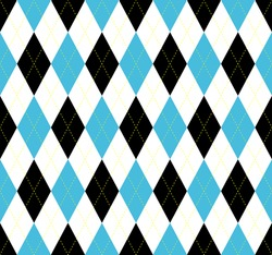 Seamless argyle plaid pattern. Diamond check print in blue, black and white.