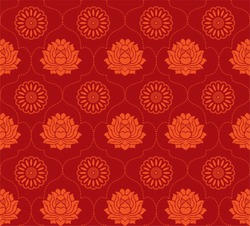 Seamless asian wallpaper with lotus flowers