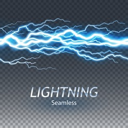 Seamless asset of lightening and thunder bolt or electric, glow and sparkle effect, vector art and illustration.