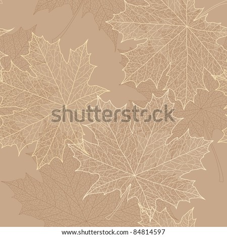 Seamless autumn leaves pattern - stock vector