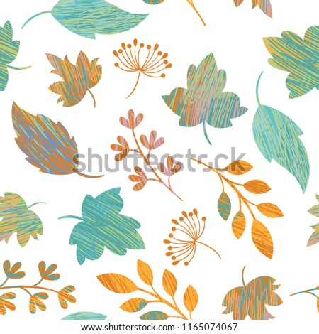 Seamless autumn leaves pattern ,beautiful autumnal background