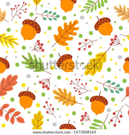 Seamless autumn leaves pattern. Fall season colors, fallen yellow leaf and autumnal acorns. Autumnal nature foliage wallpaper, fabric or wrapping vector illustration
