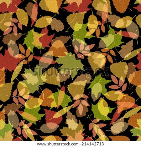 Seamless autumn pattern. Veined autumn leaves on black background.