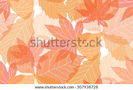 Seamless autumn pattern with colorful translucent leaves for your creativity