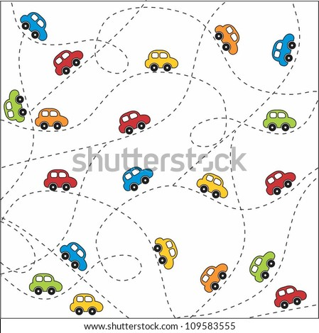 Seamless baby background with cars