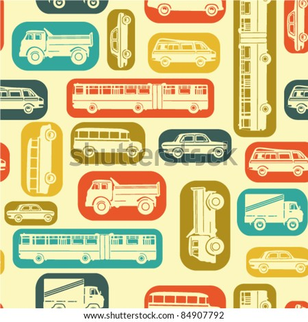 Seamless baby background with cars in retro style