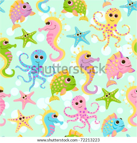 Seamless baby background with the fishes in the sea