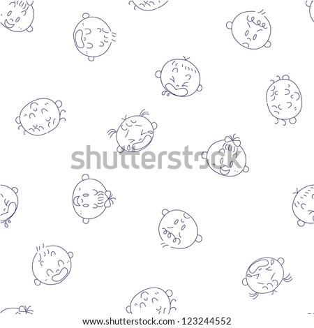 Seamless baby faces pattern