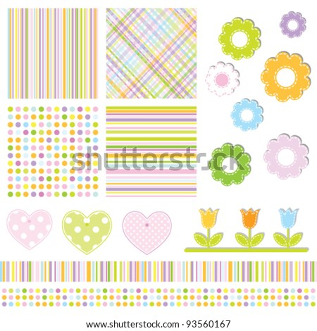 Seamless baby pattern with colorful lines. Lovely templates for scrapbook, craft, home projects, invitations, baby shower, party announcements. Nice modern decorative textures and design elements