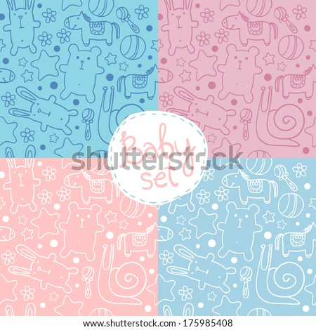 Stock Photo seamless baby pattern with cute cartoon animals for boys and girls.