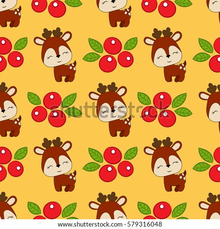 Seamless baby pattern with cute deers and berries. Best Choice for cards, invitations, printing, party packs, blog backgrounds, paper craft, party invitations, digital scrapbooking.