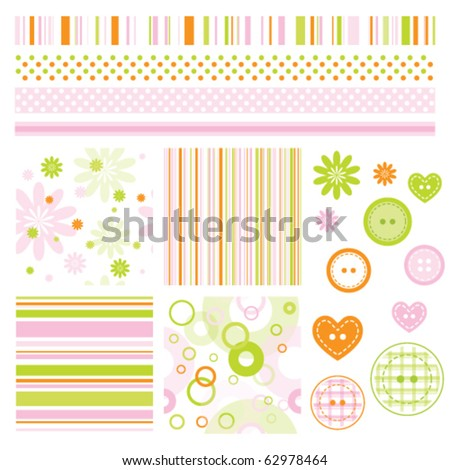 Seamless baby patterns with flowers  and lines. Lovely templates for scrapbook, craft, home projects, invitations, baby shower, party announcements. Nice modern decorative textures and design elements
