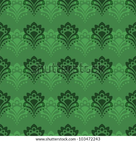 Seamless background - Abstract flowers in emerald tones - stock vector