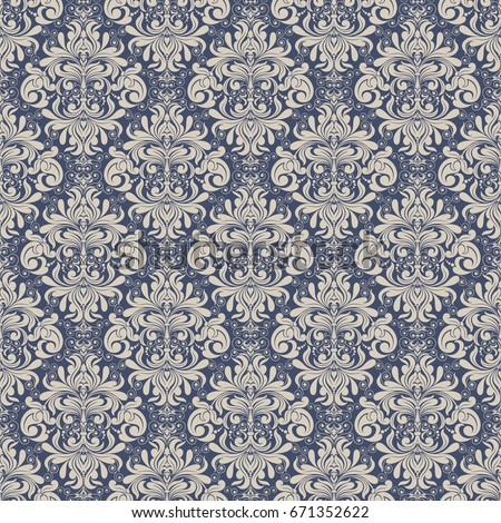 Seamless background baroque style blue and beige. Vintage Pattern. Retro Victorian. Ornament in Damascus style. Elements of flowers, leaves. Vector illustration. Wallpaper, print packaging, textiles.