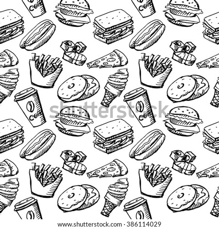 Seamless background by fast food elements. Hot dog, donuts, pizza, sushi, ice cream, burger, coffee cup. Vector stock illustration