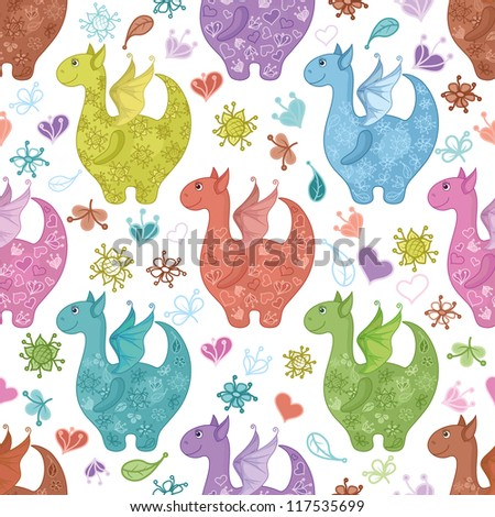 Seamless background, cartoon colorful Dragons, flowers and hearts. Vector