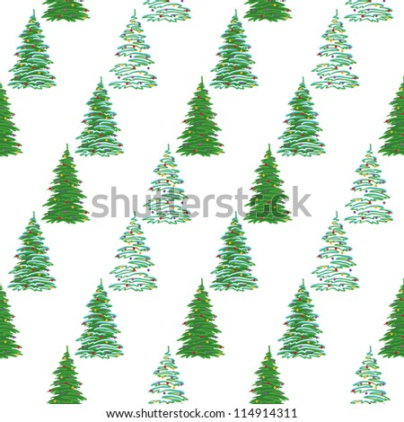 Seamless background, Christmas holiday trees with decorations, isolated on white. Vector