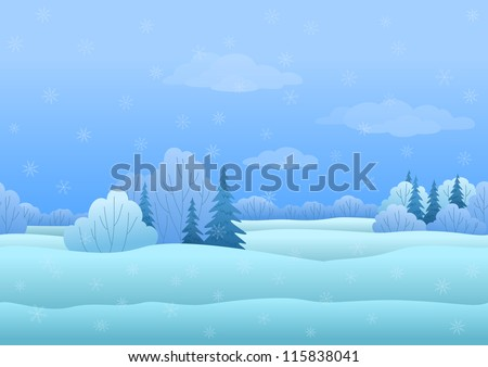 Seamless background, Christmas landscape: winter snowy forest. Vector