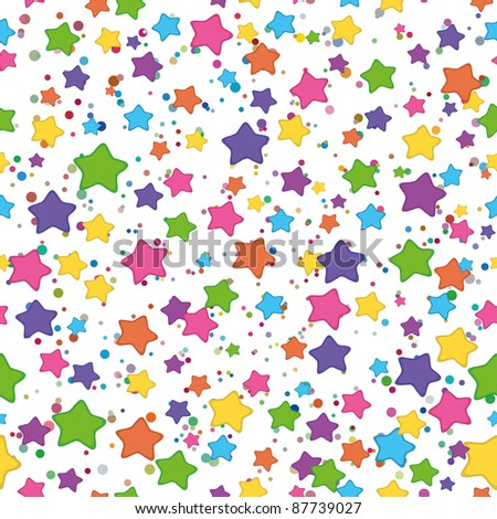 Seamless background: colored stars smilies on white. Vector