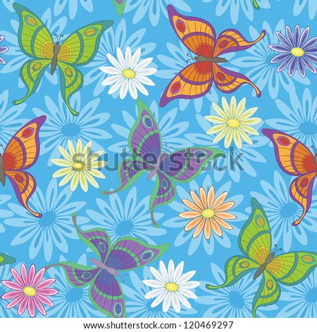 Seamless background, colorful flowers and butterflies on blue. Vector