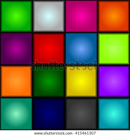 Seamless background - colorful, glowing, three-dimensional cubes. Dance floor, palette of colors. Vector.