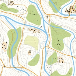 Seamless background detailed topographic map of territory with rivers, forests, settlements, roads, communication lines without names.