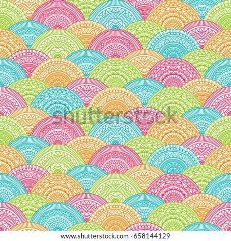Seamless background  Eastern style blue, green and red. Arabic  Pattern. Mandala ornament. Elements of flowers and leaves. Vector illustration. Use for wallpaper, print packaging paper, textiles.