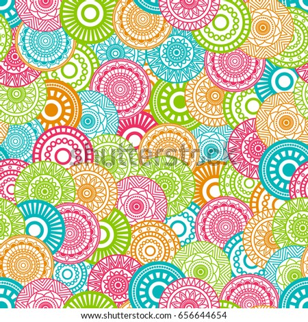 Seamless background  Eastern style blue, green, red, orange. Arabic  Pattern. Mandala ornament. Elements of flowers and leaves. Vector illustration. Use for wallpaper, print packaging paper, textiles.