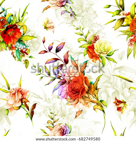 Seamless background floral pattern. Rose, pomegranate, rosemary with leaves on pastel. Hand drawn, vector - stock.