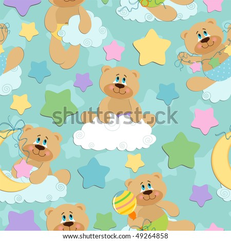 Seamless background for babies with bear toy (EPS10)