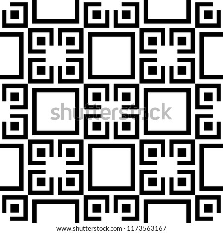 Seamless background for your designs. Modern vector black and white ornament. Geometric abstract pattern #1173563167