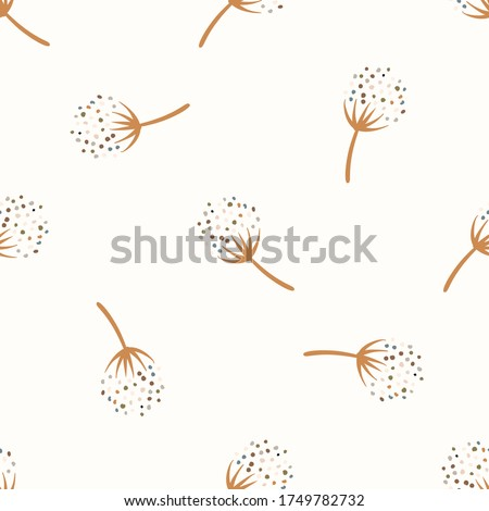 Seamless background gender neutral baby floral pattern. Simple whimsical minimal earthy 2 tone color. Kids nursery flower wallpaper or boho fashion all over print.