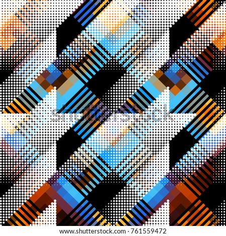 Seamless background. Geometric abstract diagonal pattern in low poly pixel art style and halftone dots.