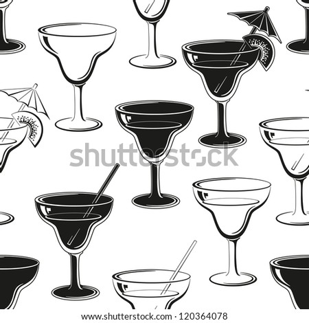 Seamless background, glasses with a drink, black silhouettes isolated on white. Vector
