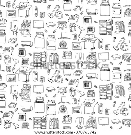 Seamless background hand drawn doodle Home appliance vector illustration Cartoon icons set Various household ?equipment Major appliances Consumer electronics Kitchenware Freehand vector sketches stock photo