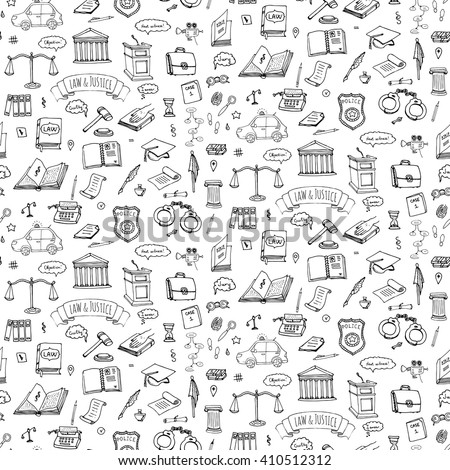 Seamless background Hand drawn doodle Law and Justice icons set. Vector illustration legal sketchy symbols collection Cartoon concept elements suitable for infographics, websites and print Court Crime