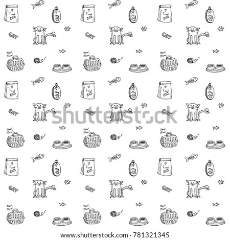 Seamless background Hand drawn doodle Pets stuff and supply icons set. Vector illustration. Vet symbol collection Cartoon cats care elements: kitty, food, paw, bowl, carrier, fish Pattern for pet shop