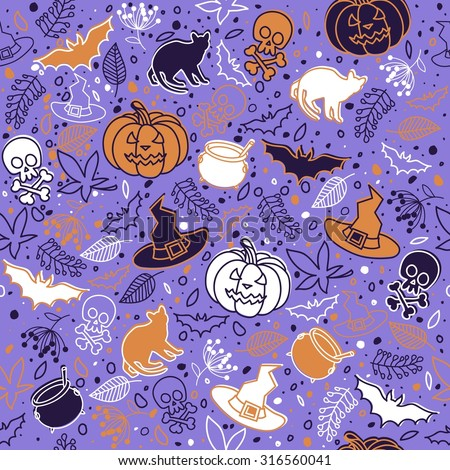 Seamless background. Holiday Halloween. Hand drawing. Vector illustration.