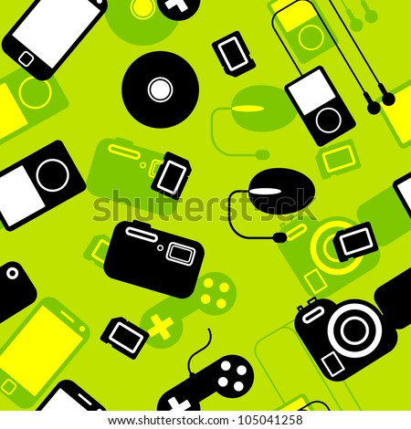 Seamless background Icon  with  electronic gadgets. Could be used as seamless wallpaper, textile, wrapping paper or background