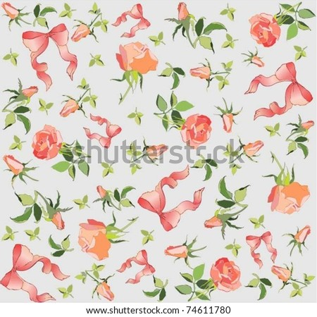 Seamless background. Illustration  rose and  bow.