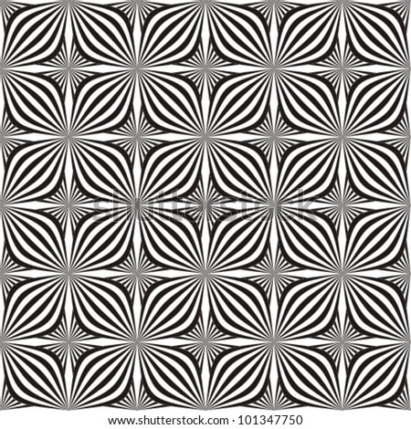Seamless background in black and white. Optical illusion with geometric drawing.