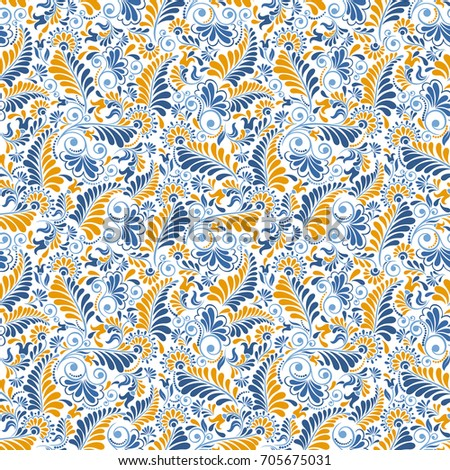 Seamless background in Damascus style. Vintage ornament. Use for wallpaper, printing on the packaging paper, textiles.