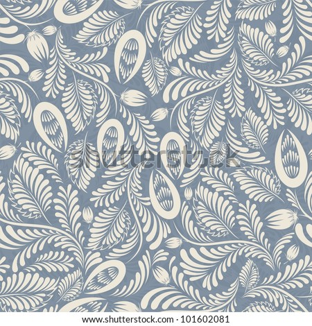 Seamless background in folk style blue