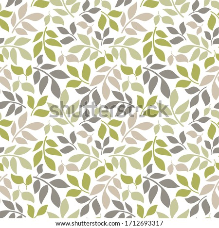 Seamless background in nature style green. Vintage Pattern. Geometric ornament. Elements of leaves. Vector illustration. Use for wallpaper, print packaging paper, textiles.