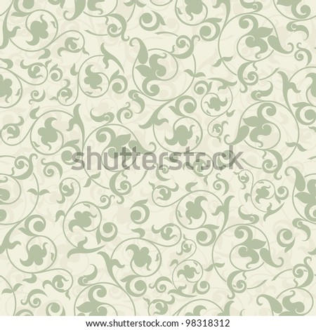 Seamless background in the baroque style green