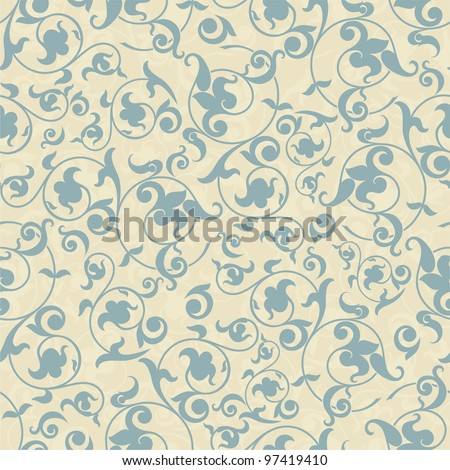 Seamless background in the style of blue damask