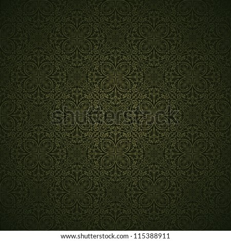Seamless background in the style of green damask
